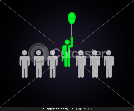 Human figure with a balloon stock photo, Human figure with a balloon in a row of others by Sergey Nivens