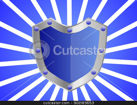 Blue Gem Studded Shield stock photo, A blue studded shield with silver frame background  by Sidharth Thakur