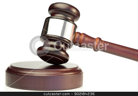 Gavel stock photo, Gavel on a white background by Wavebreak Media