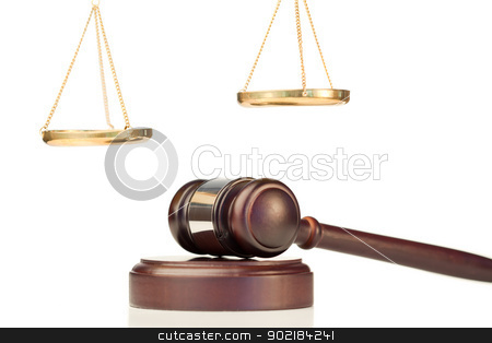 Fixed gavel and golden scale of justice stock photo, Fixed gavel and golden scale of justice on a white background by Wavebreak Media