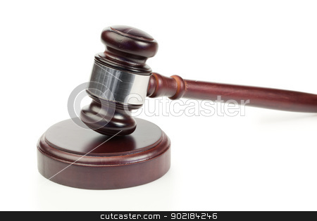 Simple gavel in action stock photo, Simple gavel in action on a white background by Wavebreak Media