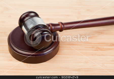 Fixed gavel stock photo, Fixed gavel on a desk by Wavebreak Media
