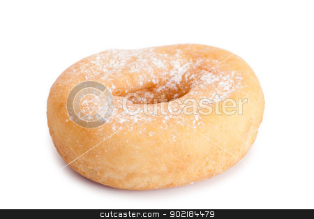 Donut with sugar stock photo, Donut with sugar isolated on a white background by Wavebreak Media