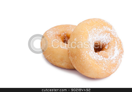 Donuts with sugar stock photo, Donuts with sugar isolated on a white background by Wavebreak Media