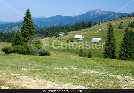 mountain summer landscape stock photo, mountain summer landscape with blue sky by Vitaliy Pakhnyushchyy