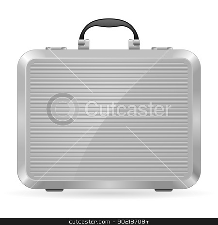 Silver briefcase stock photo, Silver briefcase. Illustration on white background for design by dvarg