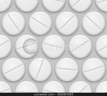 Pills stock photo, Seamless texture realistic pills on gray background by dvarg