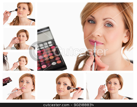 Collage of a young woman getting made up stock photo, Collage of a young woman getting made up by Wavebreak Media