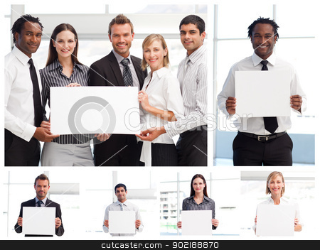 Collage of business people holding signs stock photo, Collage of business people holding signs by Wavebreak Media