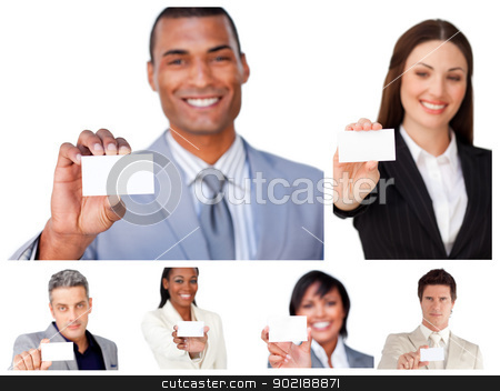 Collage of business people showing signs stock photo, Collage of business people showing signs by Wavebreak Media