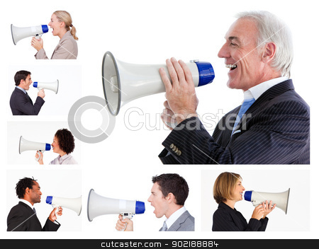 Collage of business people screaming in a megaphone stock photo, Collage of business people screaming in a megaphone by Wavebreak Media