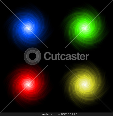 Abstract colored background spirals stock photo, Abstract red green blue and yellow spirals of colours and shapes converging to the center. A symbol of caos or immense movement by Dario Rota
