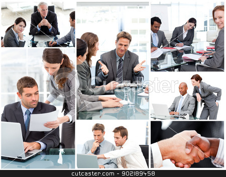Collage of businesspeople in different situations stock photo, Collage of businesspeople in different situations by Wavebreak Media