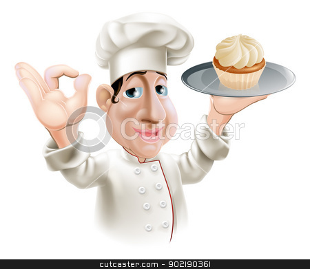 Happy baker stock vector clipart, A happy baker smiling with a cake on a tray doing an okay gesture by Christos Georghiou