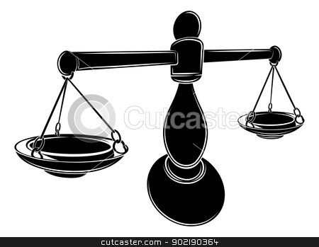 Stylised scales illustration stock vector clipart, An illustration of a stylised black balance scales perhaps a scales tattoo by Christos Georghiou