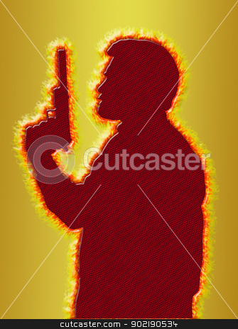 Flaming Assassin in 3D Gold Background stock photo, Flaming Assassin with Pistol with Silencer on 3D Gold Background by Snap2Art