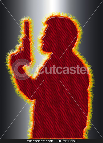 Flaming Assassin in 3D Black Background stock photo, Flaming Assassin with Pistol with Silencer on 3D Black Background by Snap2Art