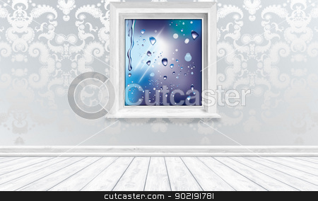 Climate Friendly Window in Bright Interior stock photo, Window View Raindrops in Bright Interior by TLFurrer