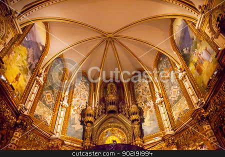 Monestir Monastery Montserrat Barcelona, Catalonia, Spain stock photo, Basilica Inside Monestir Monastery of Montserrat, Barcelona, Catalonia, Spain.  Founded in the 9th Century, destroyed in 1811 when French invaded Spain. Rebuilt in 1844 and now a Benedictine Monastery.  Placa de Santa Maria by William Perry