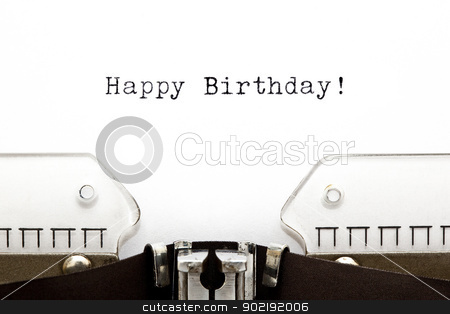 Typewriter Happy Birthday stock photo, Happy Birthday printed on an old typewriter  by Ivelin Radkov