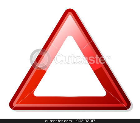 Red triangle warning sign with copy space stock photo, Red triangle warning sign with copy space, white background.  by Martin Crowdy