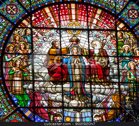 Stained Glass Jesus Mary Rose Window Montastery Montserrat stock photo, Stained Glass Jesus Crowning Mary Angels God the Father Rose Window Basilica Inside Monestir Monastery of Montserrat, Barcelona, Catalonia, Spain.  Founded in the 9th Century, destroyed in 1811 when French invaded Spain. Rebuilt in 1844 and now a Benedictine Monastery.  Placa de Santa Maria by William Perry