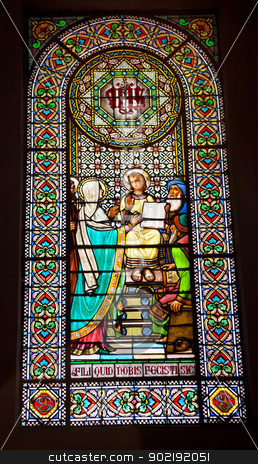 Stained Glass Window Young Jesus Mary Temple Montserrat stock photo, Stained Glass Window Young Jesus Teaching Temple Mary Basilica Inside Monestir Monastery of Montserrat, Barcelona, Catalonia, Spain.  Founded in the 9th Century, destroyed in 1811 when French invaded Spain. Rebuilt in 1844 and now a Benedictine Monastery.  Placa de Santa Maria by William Perry