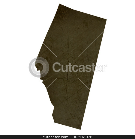 Dark silhouetted map of Alberta stock photo, Dark silhouetted and textured map of Alberta province of Canada isolated on white background. by Martin Crowdy