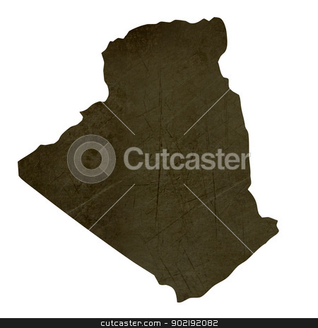 Dark silhouetted map of Algeria stock photo, Dark silhouetted and textured map of Algeria isolated on white background. by Martin Crowdy