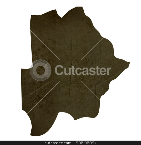 Dark silhouetted map of Botswana stock photo, Dark silhouetted and textured map of Botswana isolated on white background. by Martin Crowdy