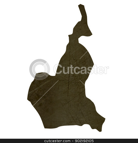 Dark silhouetted map of Cameroon stock photo, Dark silhouetted and textured map of Cameroon isolated on white background. by Martin Crowdy