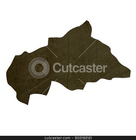 Dark silhouetted map of Central African Republic stock photo, Dark silhouetted and textured map of Central African Republic isolated on white background. by Martin Crowdy