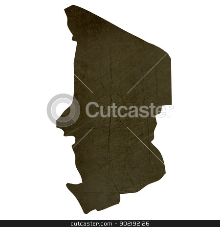 Dark silhouetted map of Chad stock photo, Dark silhouetted and textured map of Chad isolated on white background. by Martin Crowdy