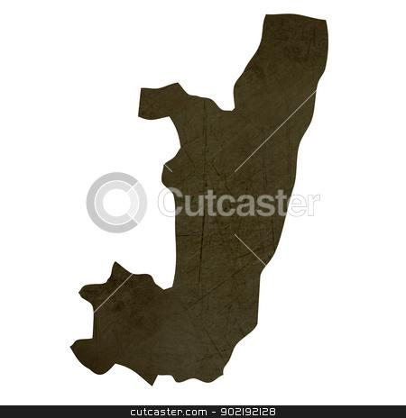 Dark silhouetted map of Congo stock photo, Dark silhouetted and textured map of Congo isolated on white background. by Martin Crowdy