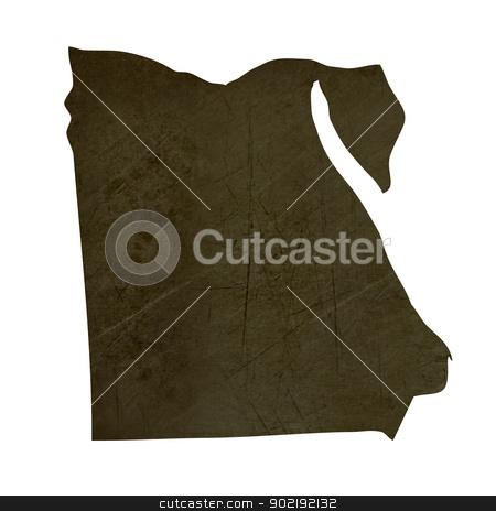 Dark silhouetted map of Egypt stock photo, Dark silhouetted and textured map of Egypt isolated on white background. by Martin Crowdy