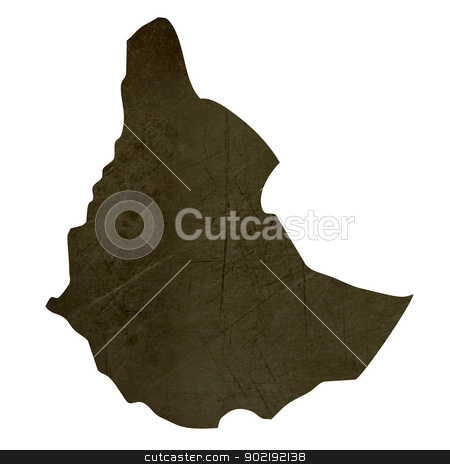 Dark silhouetted map of Ethiopia stock photo, Dark silhouetted and textured map of Ethiopia isolated on white background. by Martin Crowdy