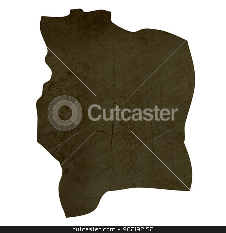 Dark silhouetted map of Ivory Coast stock photo, Dark silhouetted and textured map of Ivory Coast isolated on white background. by Martin Crowdy
