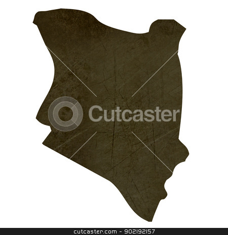 Dark silhouetted map of Kenya stock photo, Dark silhouetted and textured map of Kenya isolated on white background. by Martin Crowdy