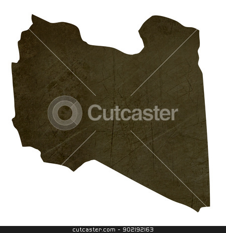 Dark silhouetted map of Libya stock photo, Dark silhouetted and textured map of Libya isolated on white background. by Martin Crowdy