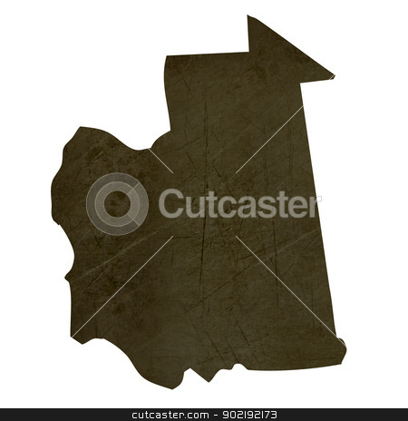 Dark silhouetted map of Mauritania stock photo, Dark silhouetted and textured map of Mauritania isolated on white background. by Martin Crowdy