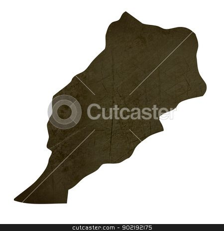 Dark silhouetted map of Morocco stock photo, Dark silhouetted and textured map of Morocco isolated on white background. by Martin Crowdy