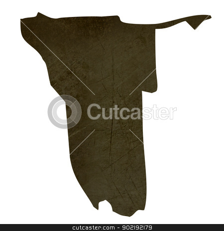 Dark silhouetted map of Namibia stock photo, Dark silhouetted and textured map of Namibia isolated on white background. by Martin Crowdy