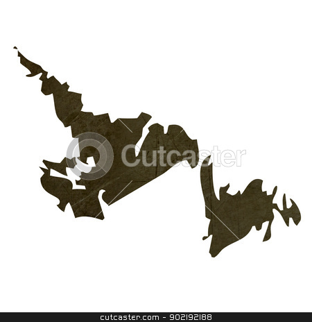 Dark silhouetted map of Newfoundland stock photo, Dark silhouetted and textured map of Newfoundland province of Canada isolated on white background. by Martin Crowdy