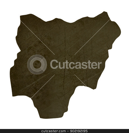 Dark silhouetted map of Nigeria stock photo, Dark silhouetted and textured map of Nigeria isolated on white background. by Martin Crowdy