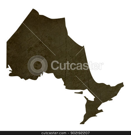 Dark silhouetted map of Quebec stock photo, Dark silhouetted and textured map of Quebec province of Canada isolated on white background. by Martin Crowdy