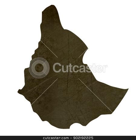 Dark silhouetted map of Sudan stock photo, Dark silhouetted and textured map of Sudan isolated on white background. by Martin Crowdy