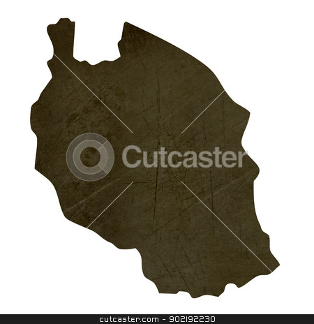 Dark silhouetted map of Tanzania stock photo, Dark silhouetted and textured map of Tanzania isolated on white background. by Martin Crowdy