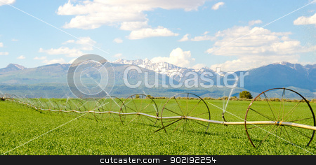 Irrigation System on Farm with San Juan Mountains in Background stock photo, Irrigation System on Farm with San Juan Mountains in Background by Robert