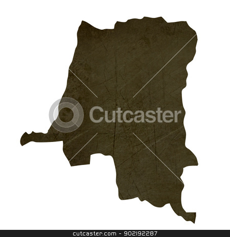 Dark silhouetted map of Zaire stock photo, Dark silhouetted and textured map of Zaire isolated on white background. by Martin Crowdy