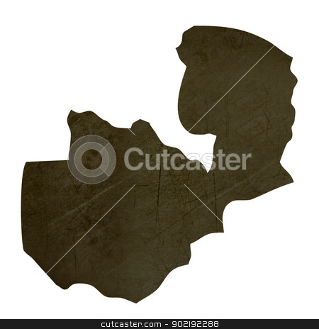 Dark silhouetted map of Zambia stock photo, Dark silhouetted and textured map of Zambia isolated on white background. by Martin Crowdy